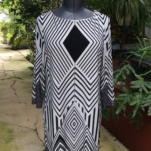 Tiana B B/W Graphic Print Dress